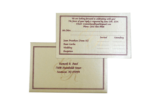 Matching RSVP Card Top Inside View