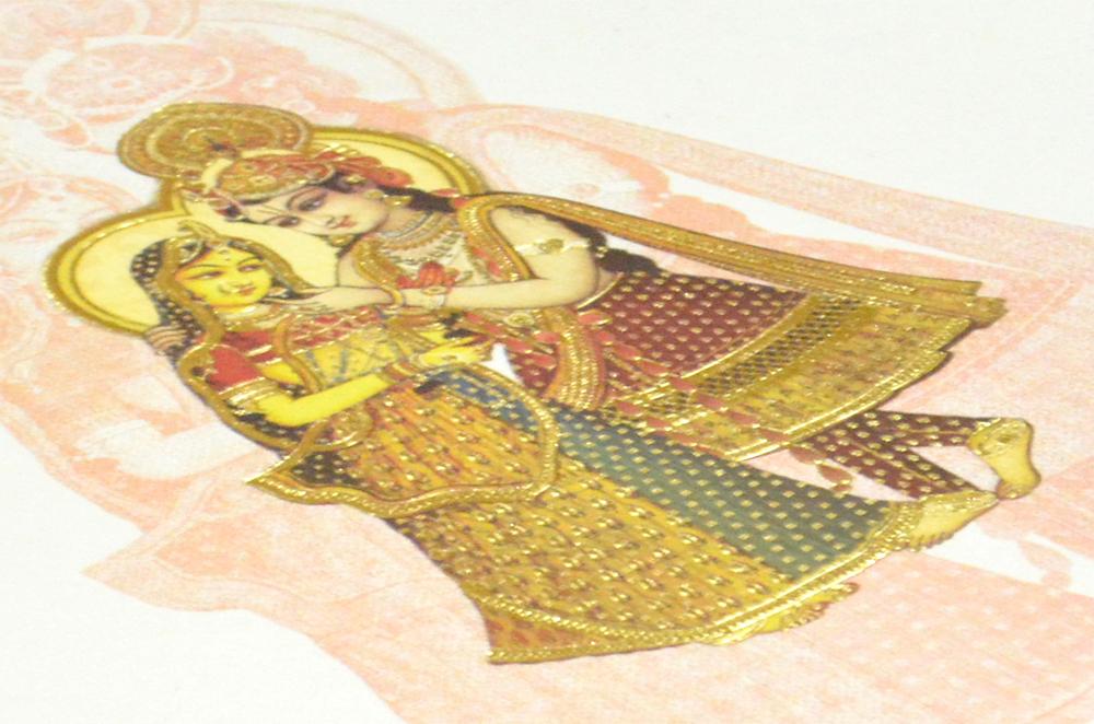 Radha Krishna Theme Wedding Card AC 220 Zoom View