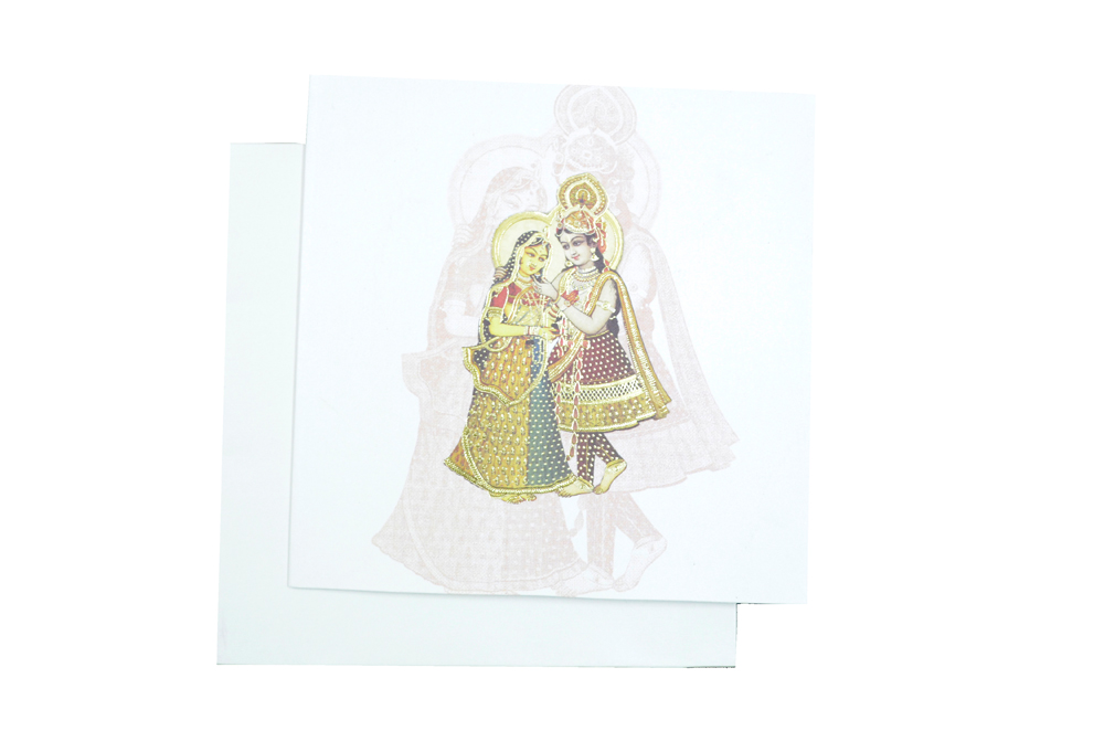 Radha Krishna Theme Wedding Card AC 220 Top View