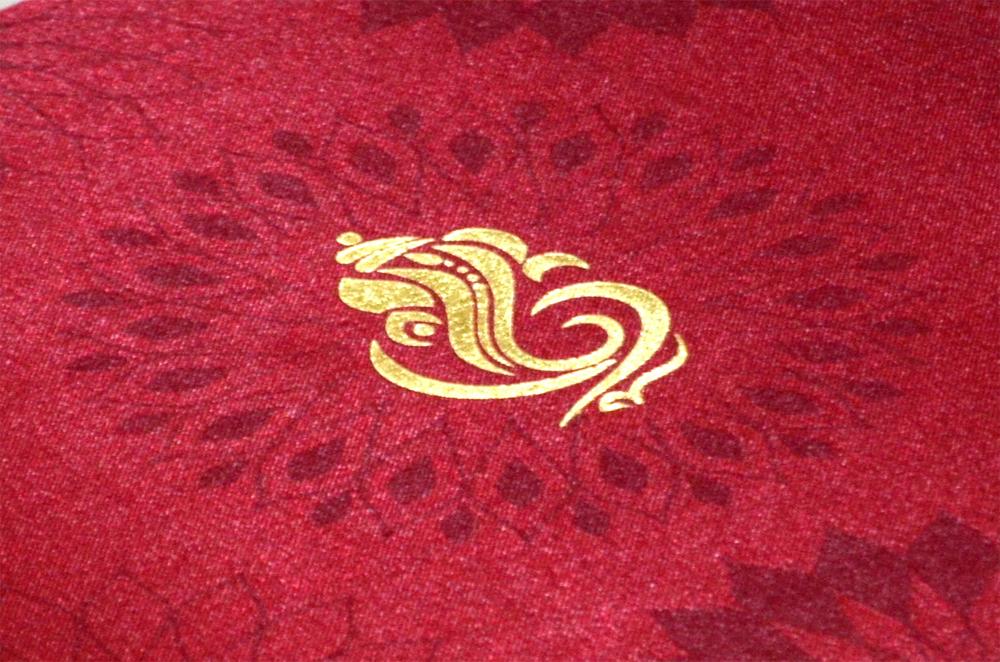 Satin Cloth Hindu Wedding Card AC 231 Zoom View