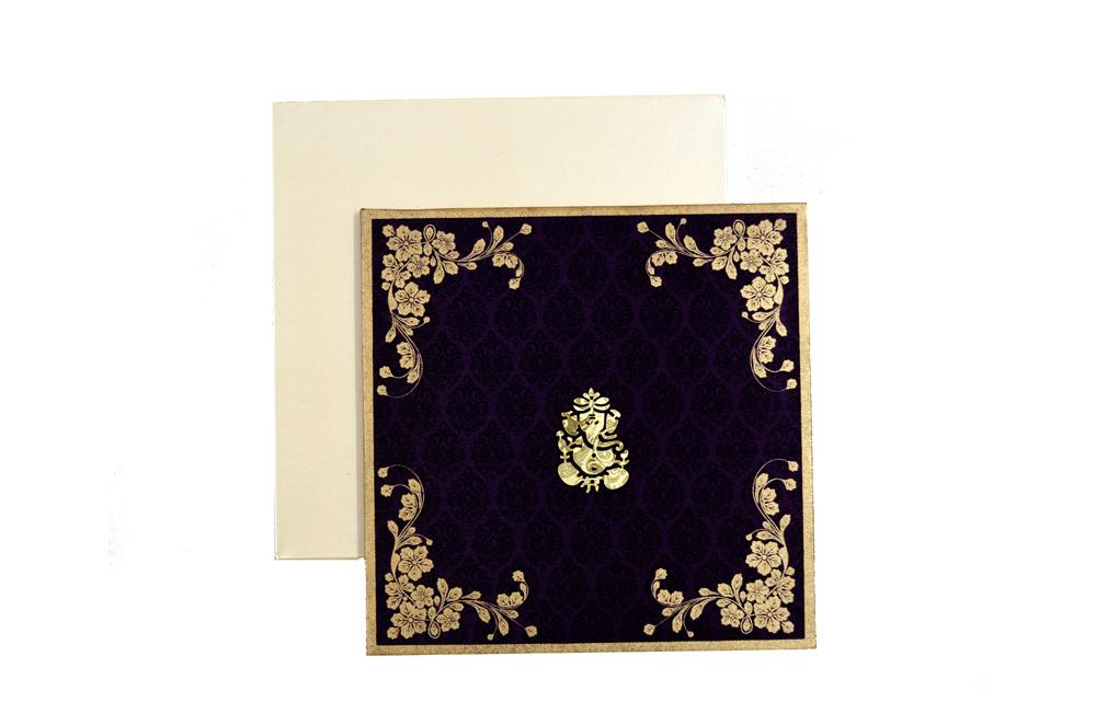 Satin Cloth Hindu Wedding Card AC 241 Top View
