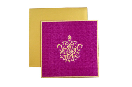 Satin Cloth Wedding Card AC 243 Top View