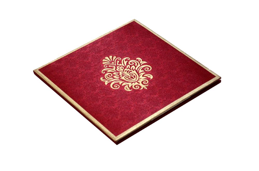 Red Padded Satin Cloth Card AC 323 Card