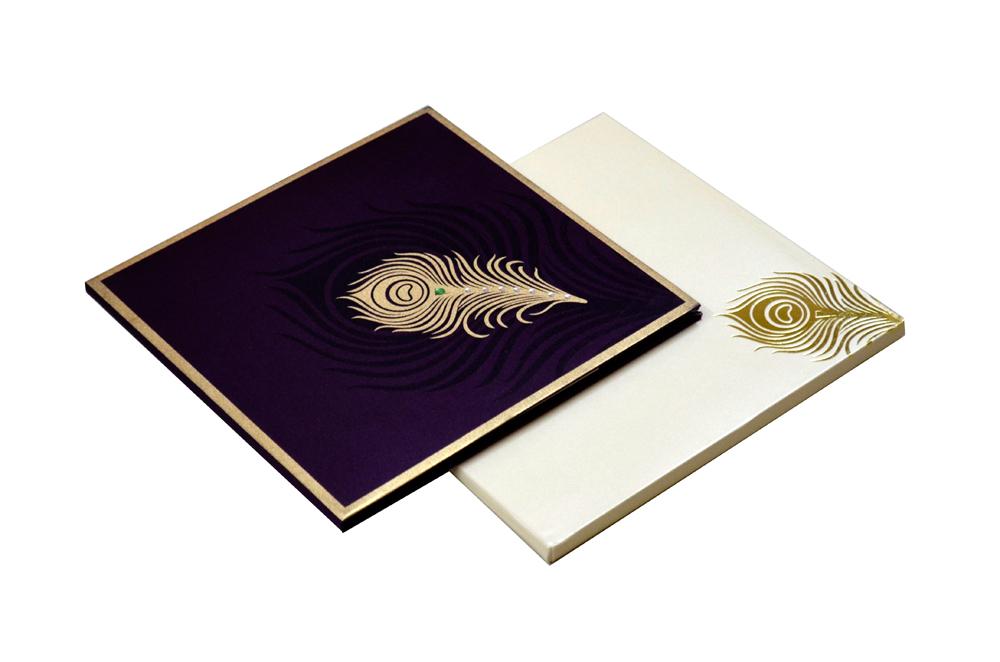 Purple Peacock Theme Satin Cloth Wedding Card AC 324