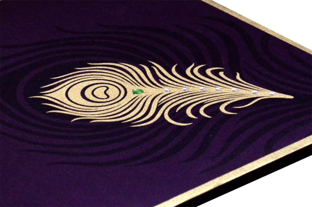 Purple Peacock Theme Satin Cloth Wedding Card AC 324 Zoom View