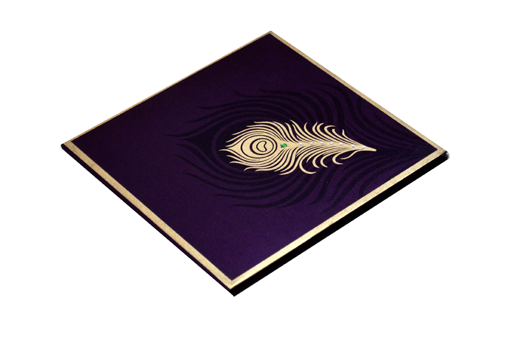 Purple Peacock Theme Satin Cloth Wedding Card AC 324 Card