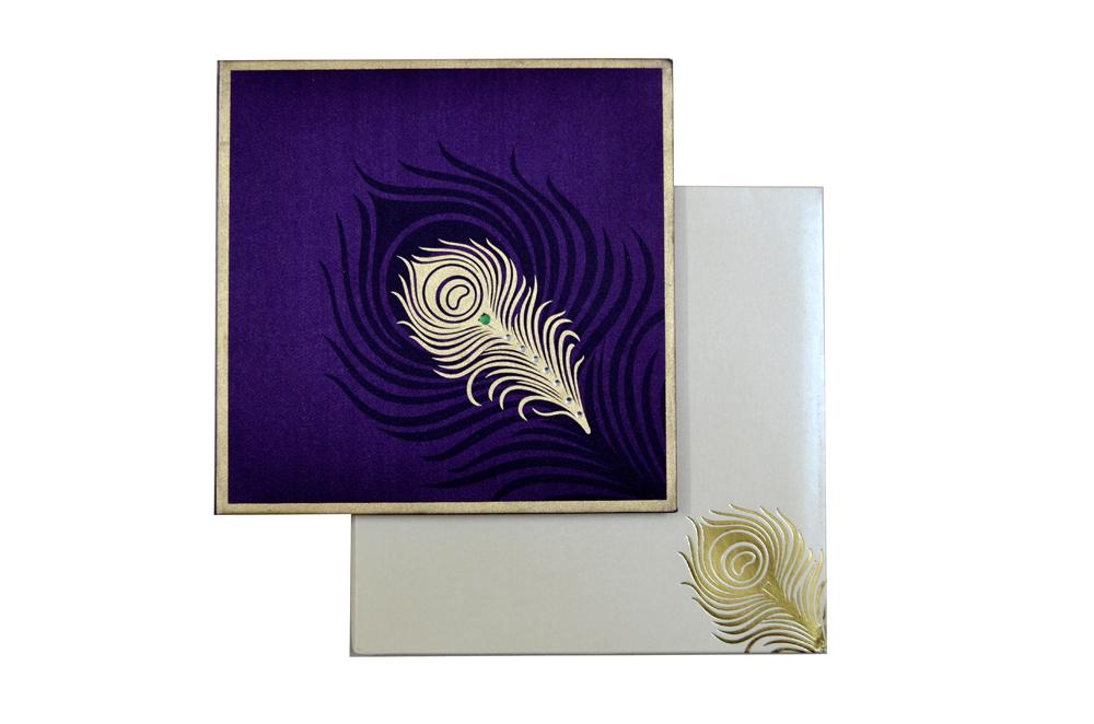 Purple Peacock Theme Satin Cloth Wedding Card AC 324 Top View