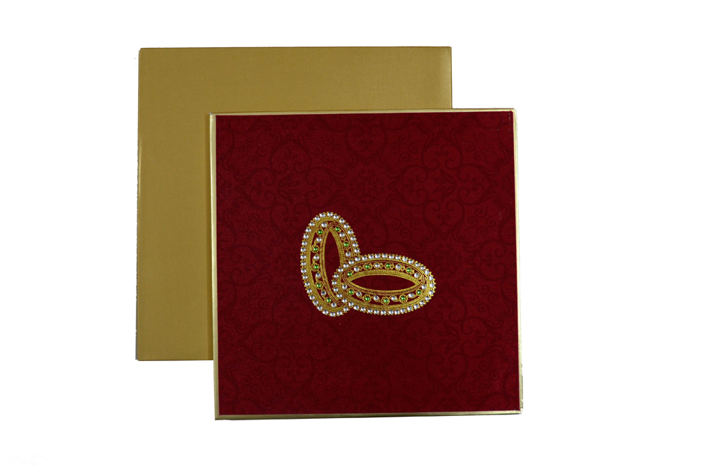 Satin Cloth Padded Wedding Card Design AC 326 Top View