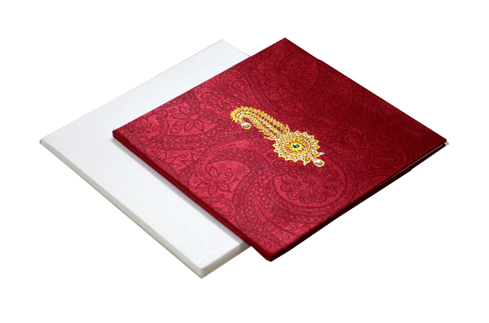 Satin Cloth Padded Wedding Card Design AC 327