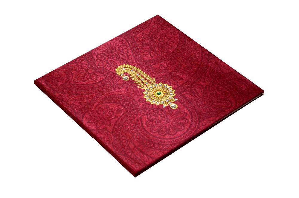 Satin Cloth Padded Wedding Card Design AC 327 Card