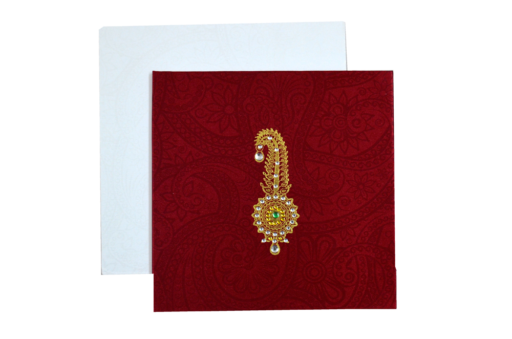 Satin Cloth Padded Wedding Card Design AC 327 Top View