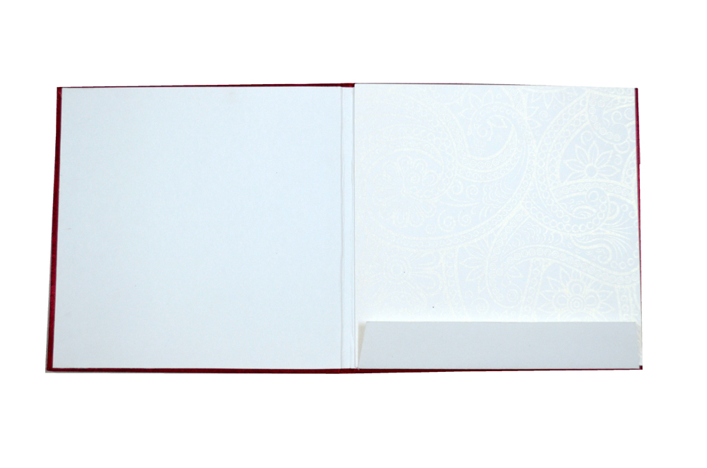 Satin Cloth Padded Wedding Card Design AC 327 Top Inside View