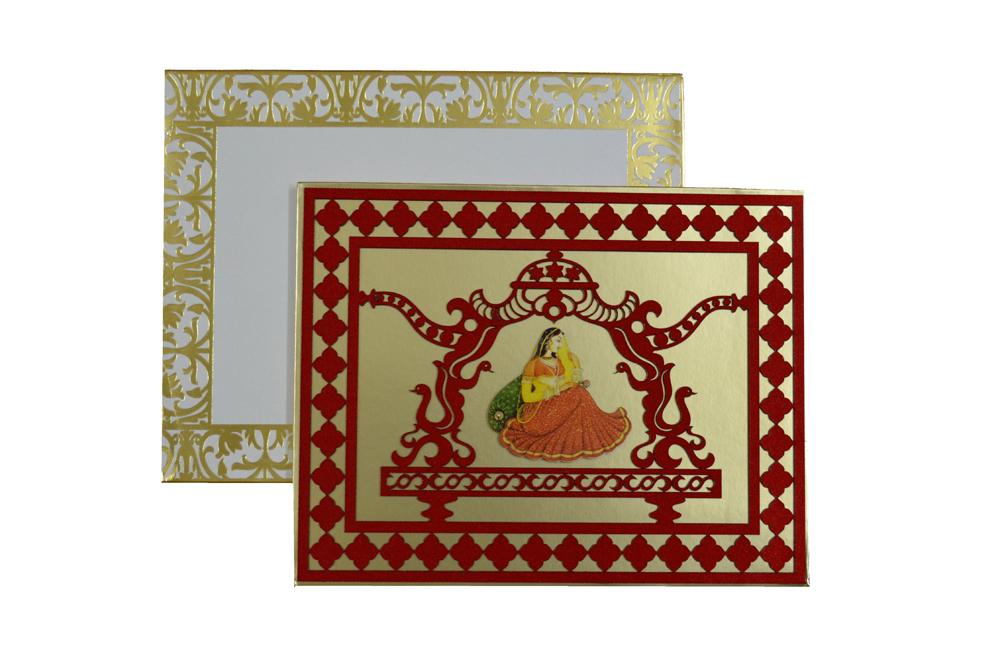 Designer Doli Shaped Wedding Card AC 334 Top View