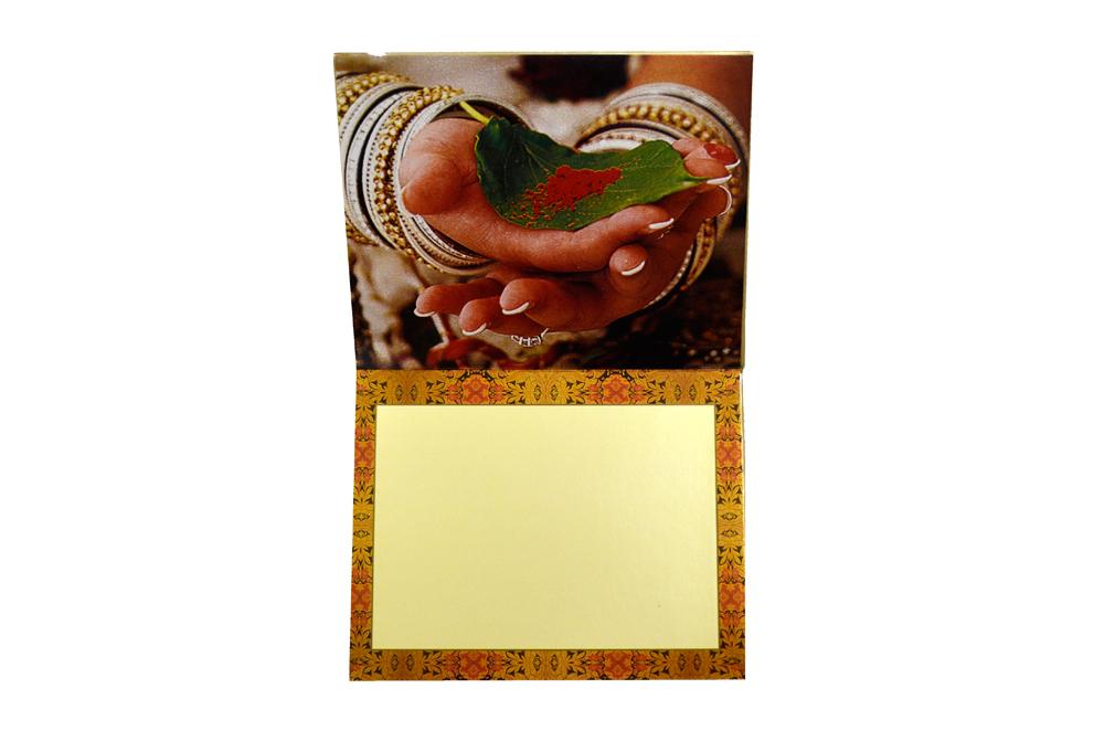 Designer Doli Shaped Wedding Card AC 334 Top Inside View