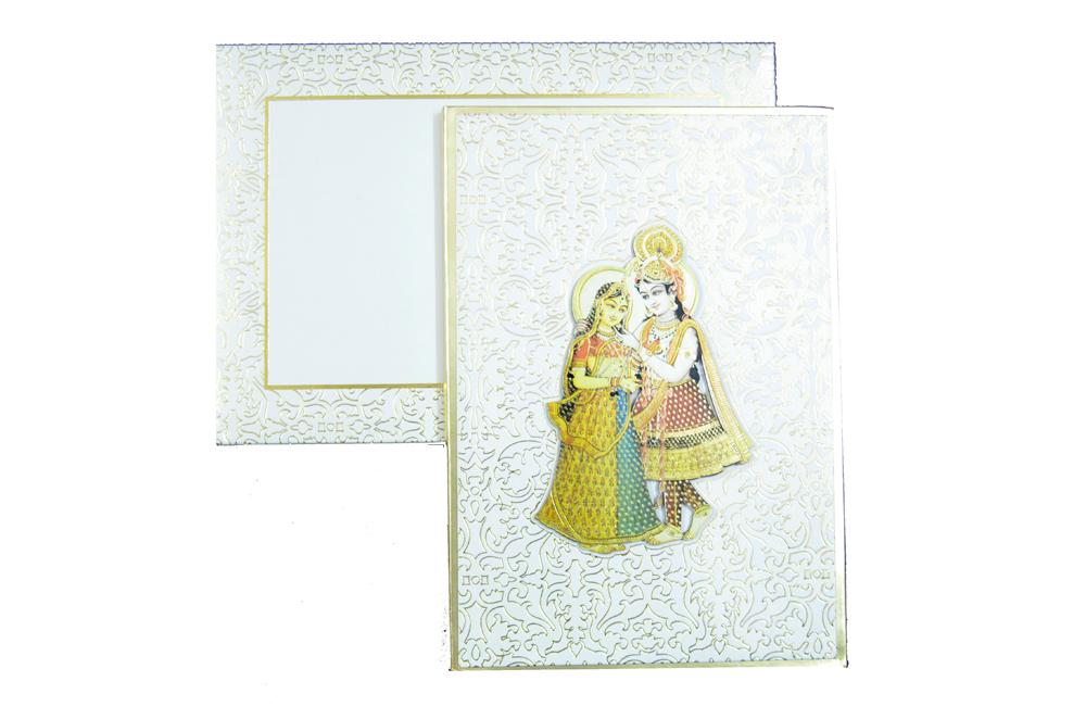 Radha Krishna Theme Wedding Card AC 340 Top View