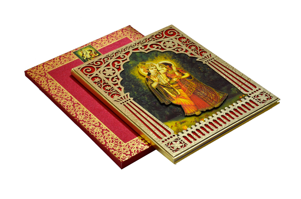 Designer Radha Krishna Theme Wedding Card AC 344