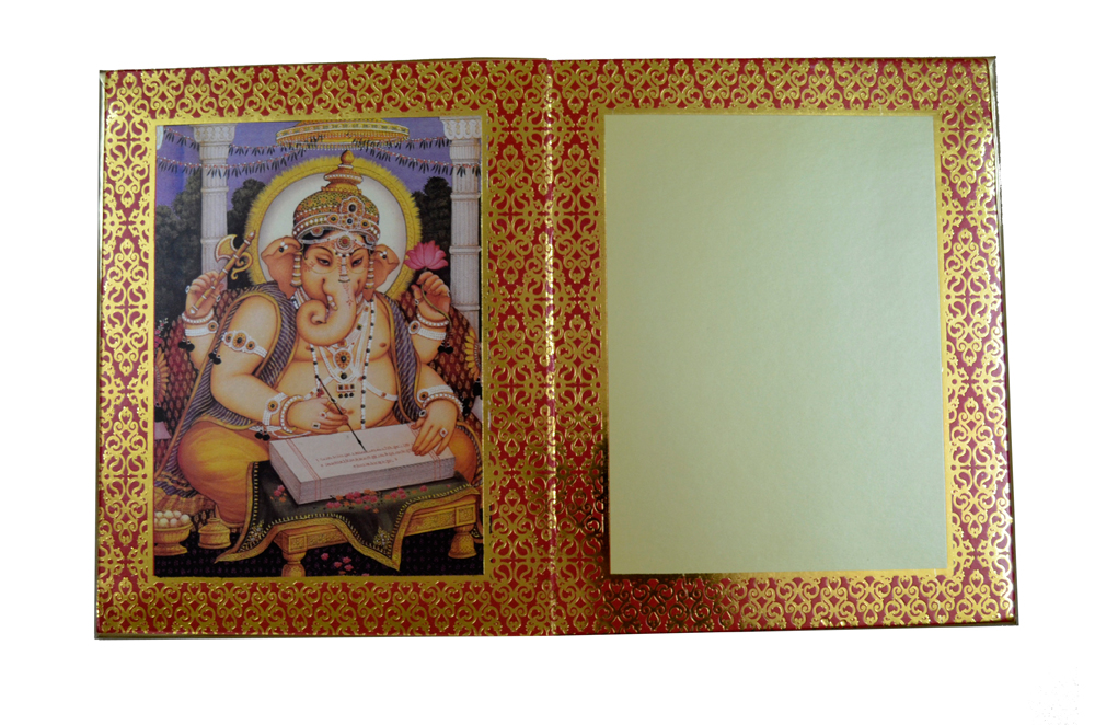 Designer Radha Krishna Theme Wedding Card AC 344 Top Inside View 1