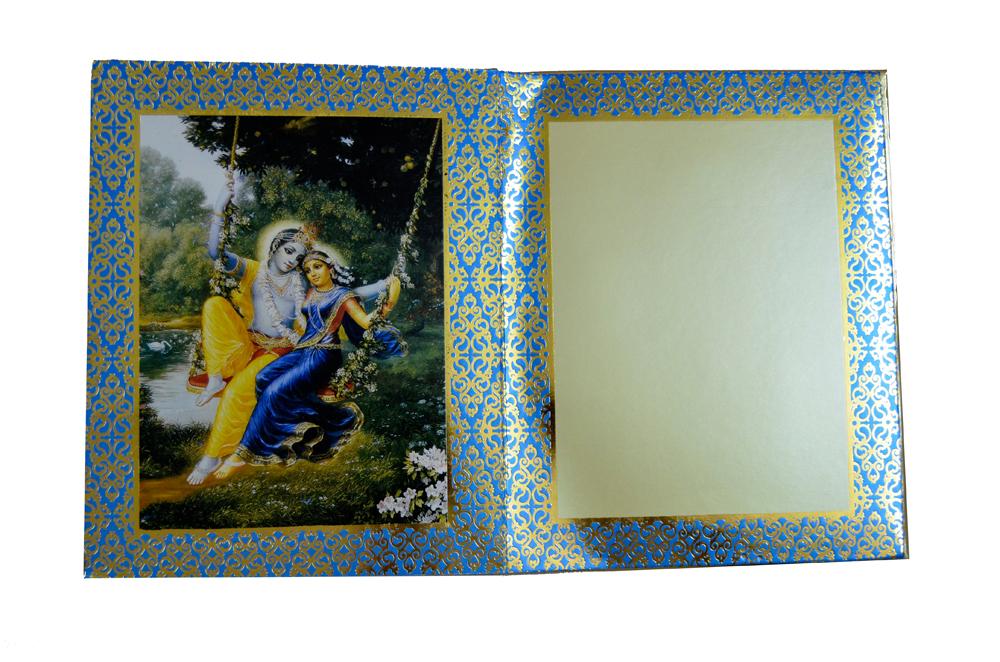 Designer Radha Krishna Theme Wedding Card AC 344 Top Inside View 2