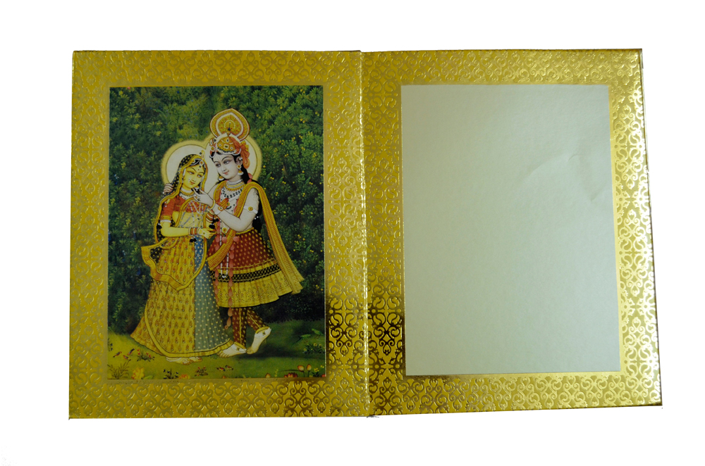 Designer Radha Krishna Theme Wedding Card AC 344 Top Inside View 3