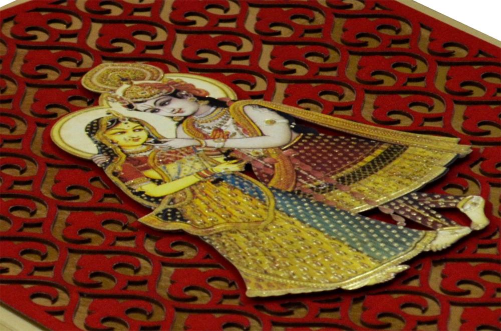 Exclusive Designer Radha Krishna Theme Wedding Card AC 347 Zoom View