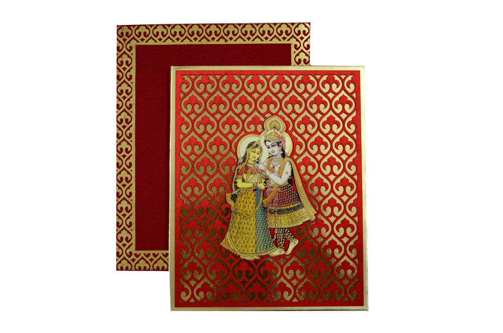 Exclusive Designer Radha Krishna Theme Wedding Card AC 347 Top View