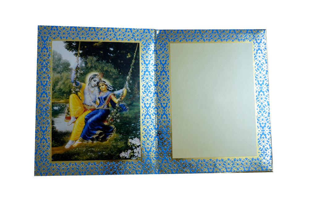 Exclusive Designer Radha Krishna Theme Wedding Card AC 347 Top Inside View 3