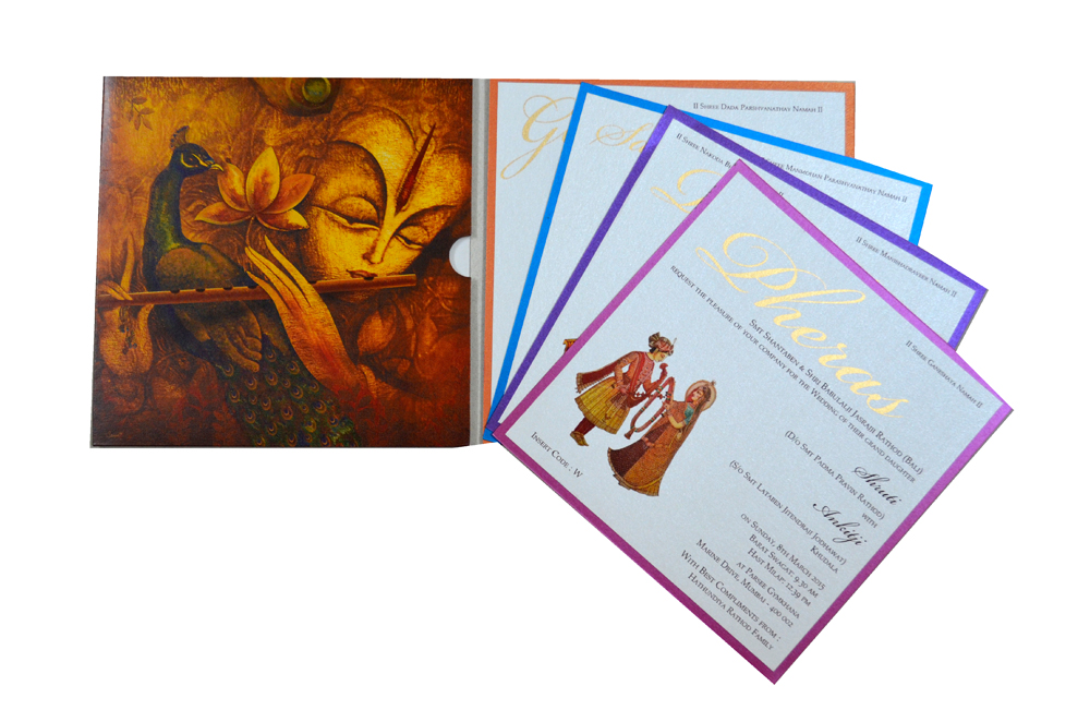 Designer Peacock Theme Wedding Card PP 7998 Top Inside View