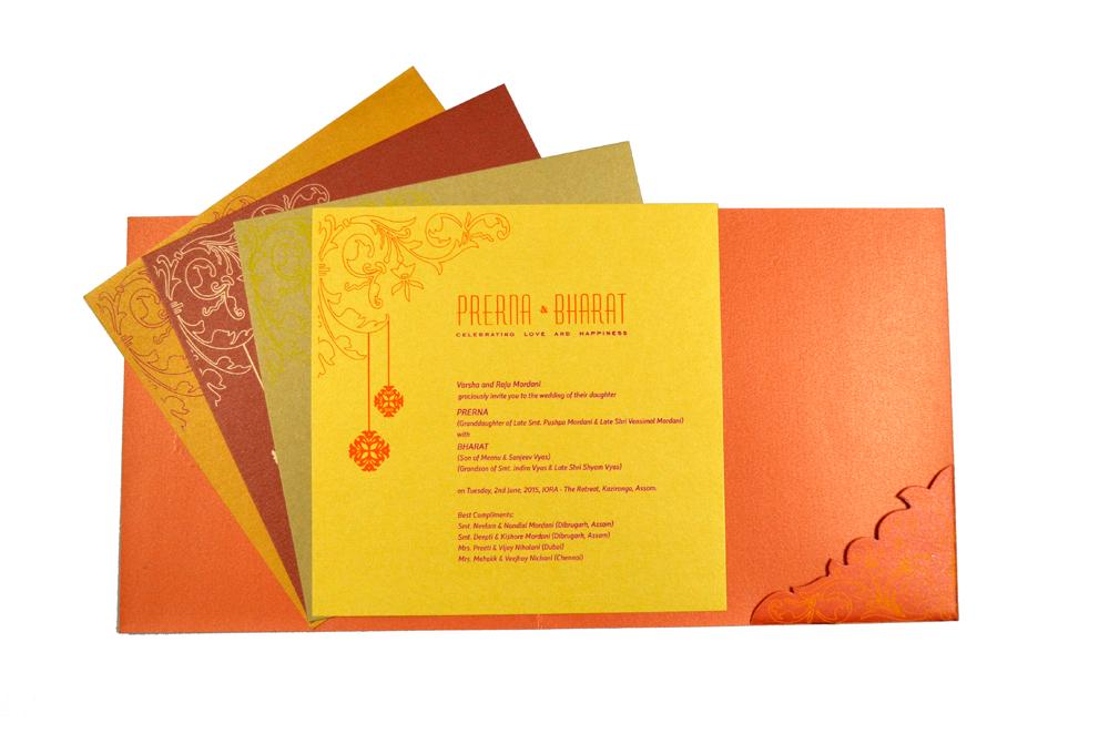 Designer Wedding Card PP 8076 Top Inside View