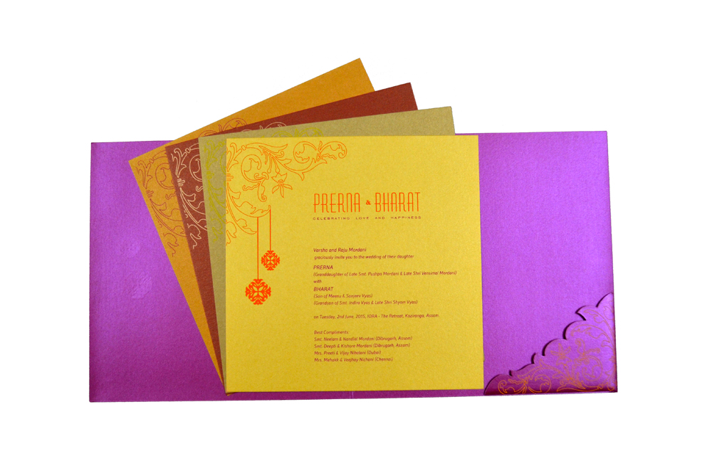 Designer Wedding Card PP 8077 Top Inside View