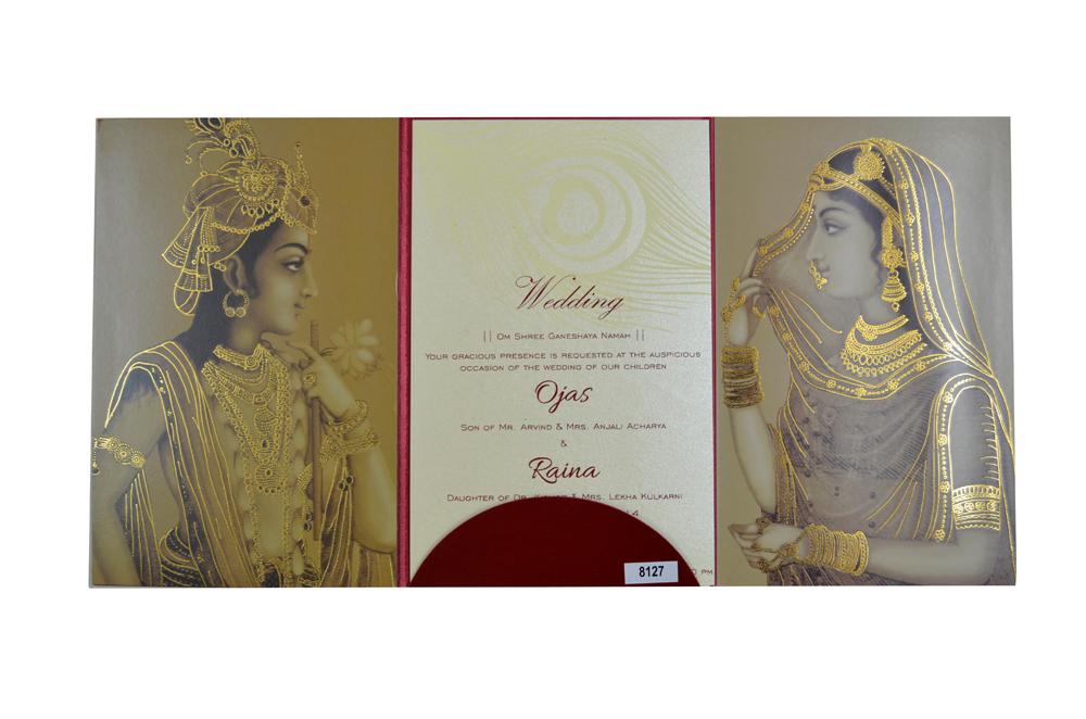 Designer Wedding Card PP 8127 Top Open View
