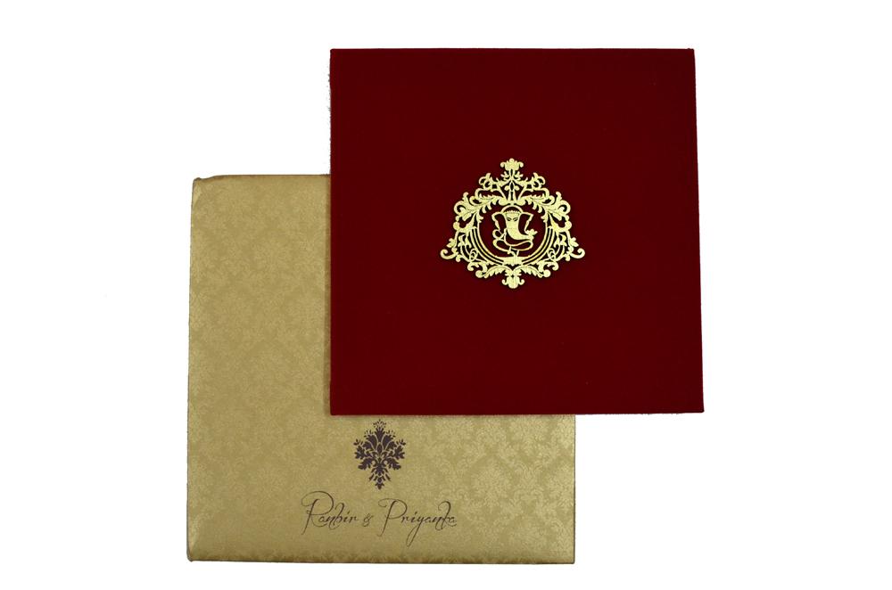 Satin Cloth Wedding Card PP 8130 Top View