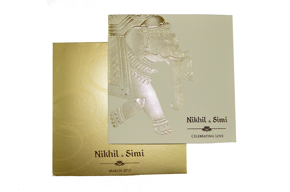 Elephant Theme Wedding Card PP 8216 Top View