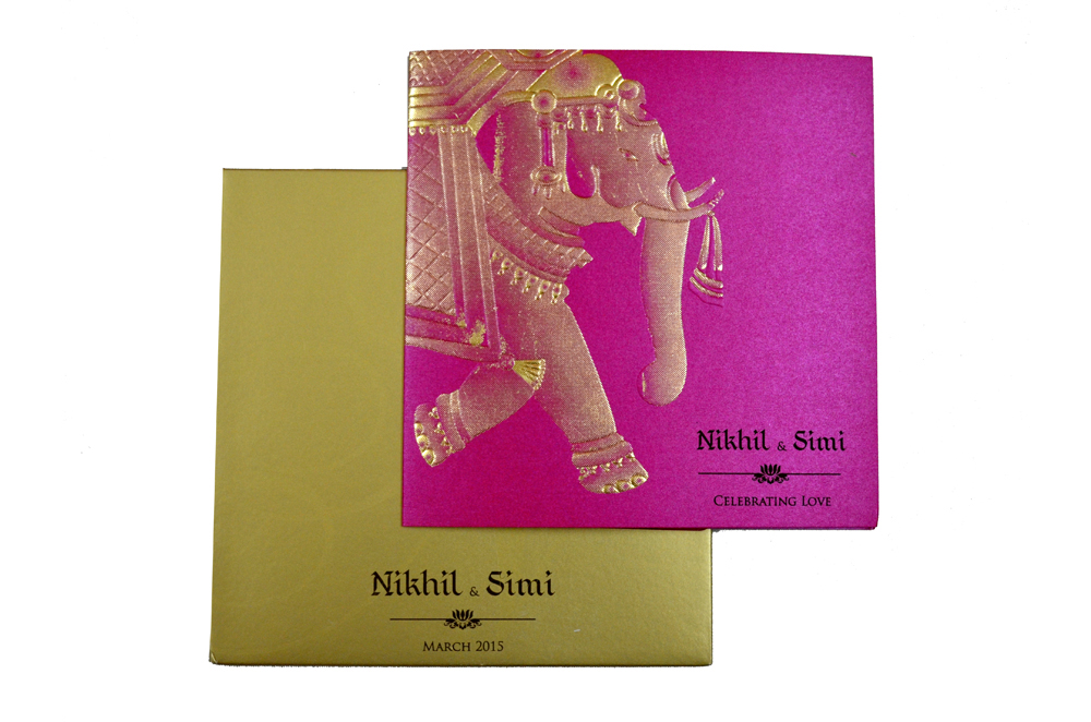 Elephant Theme Wedding Card PP 8217 Top View