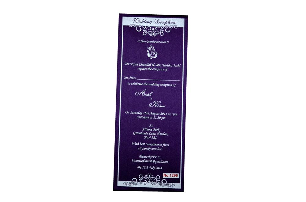 Purple Single Sheet Invitation REL 1296 Top View