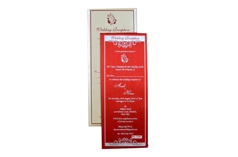 Red Single Sheet Invitation REL 1297 Top View