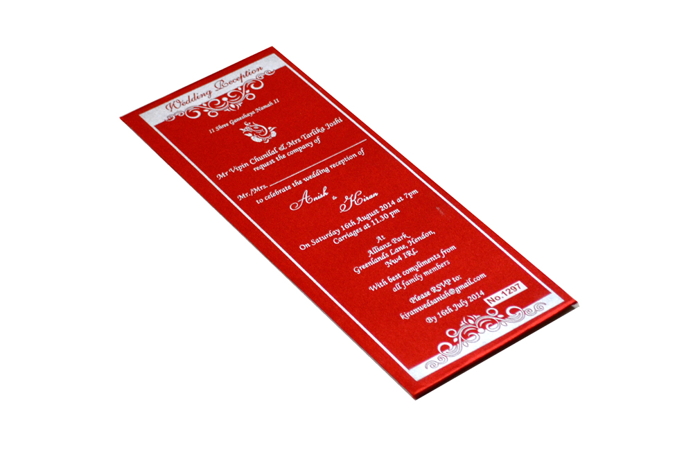 Red Single Sheet Invitation REL 1297 Card