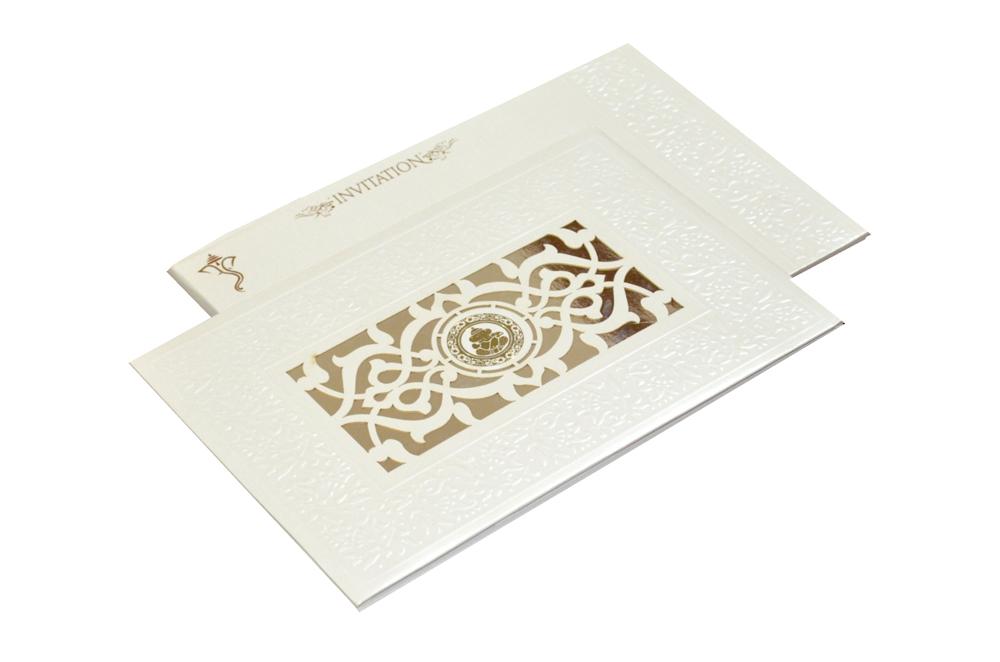 White Hindu Laser Wedding Card REL 181