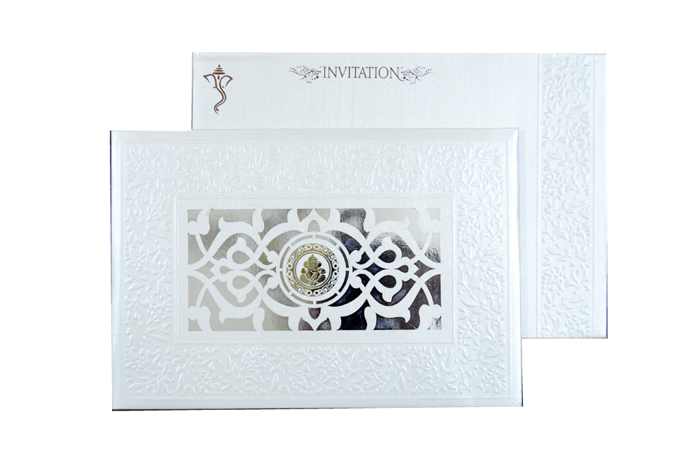 White Hindu Laser Wedding Card REL 181 Top View