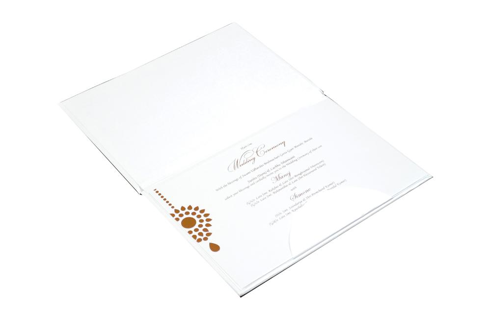 White Hindu Laser Wedding Card REL 181 Inside View