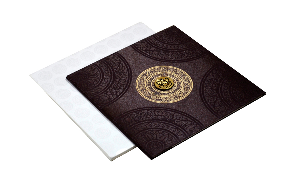 Brown Satin Cloth Wedding Card REL 431