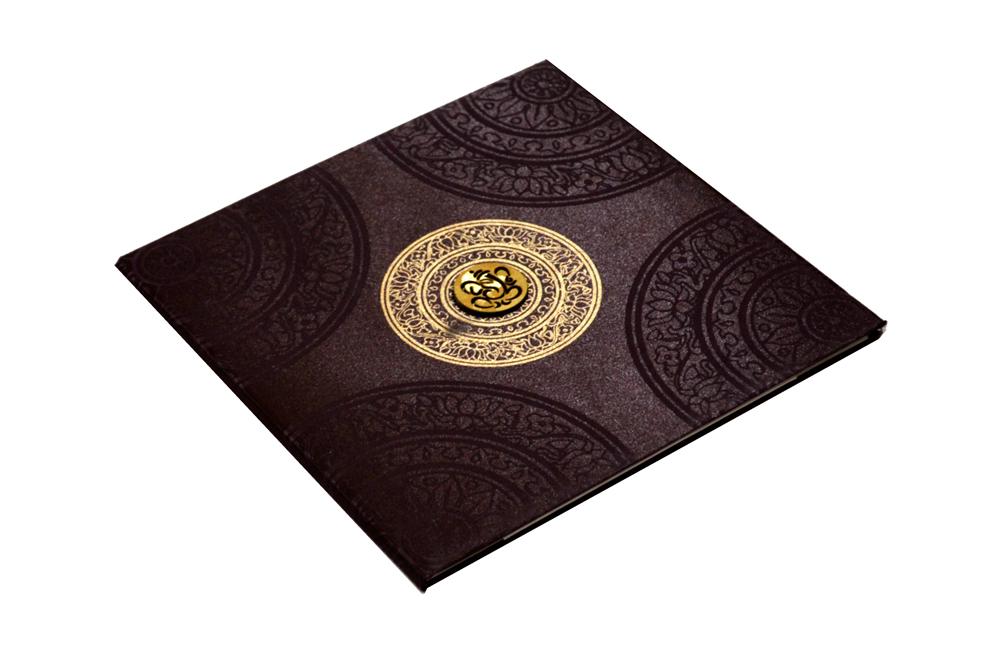 Brown Satin Cloth Wedding Card REL 431 Card