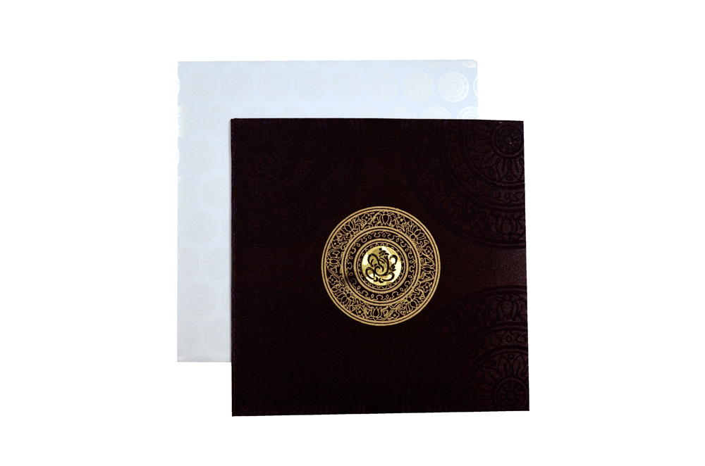 Brown Satin Cloth Wedding Card REL 431 Top View