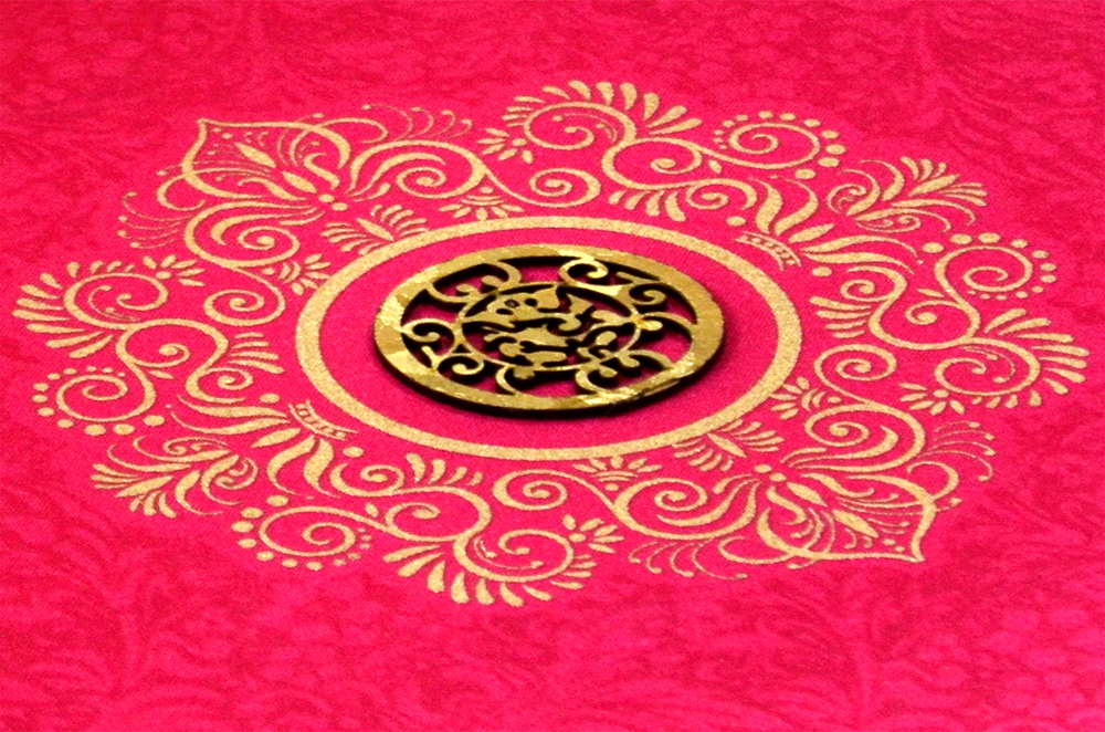 Pink Satin Cloth Wedding Card REL 432 Zoom View