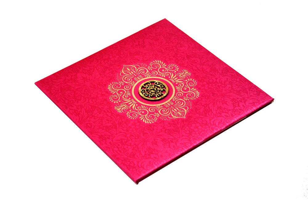 Pink Satin Cloth Wedding Card REL 432 Card
