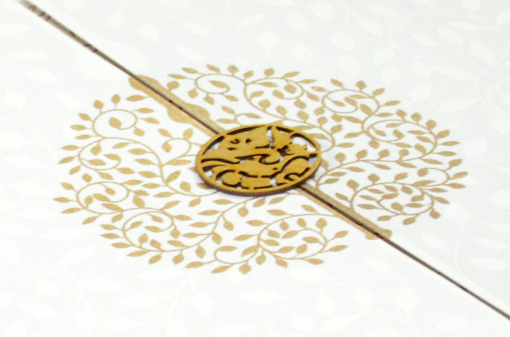 White Hindu Wedding Card REL 785 Zoom View