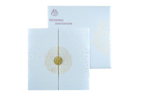 White Hindu Wedding Card REL 785 Top View