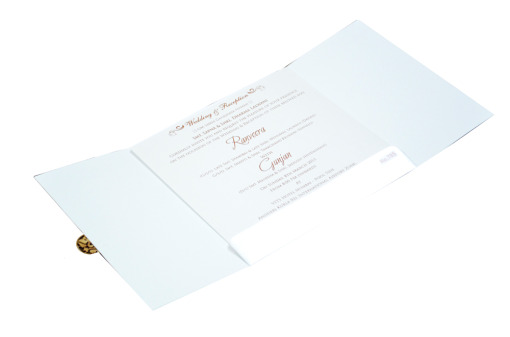White Hindu Wedding Card REL 785 Inside View