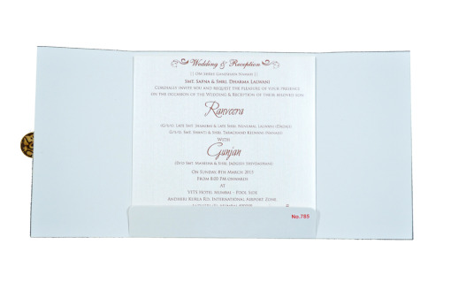 White Hindu Wedding Card REL 785 Top View