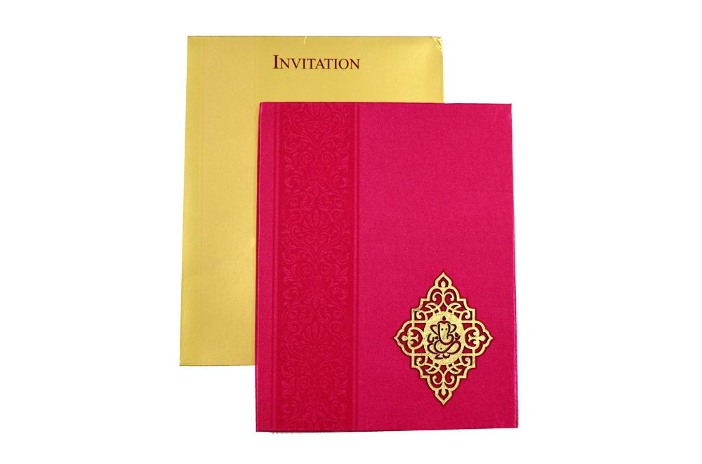 Pink Satin Cloth Wedding Card REL 898 Top View
