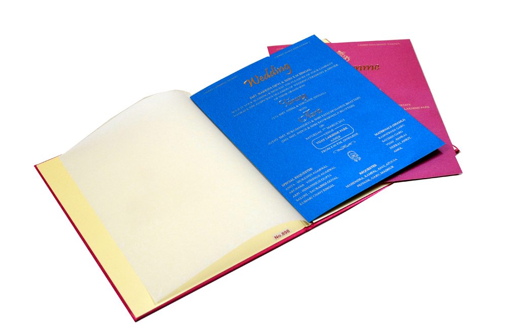 Pink Satin Cloth Wedding Card REL 898 Inside View